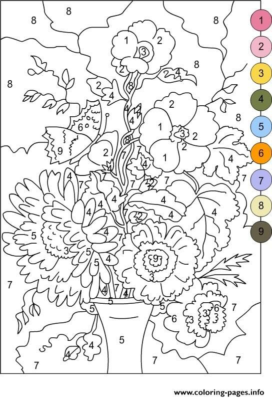 Print color by number for adults flowers coloring pages | color by ...
