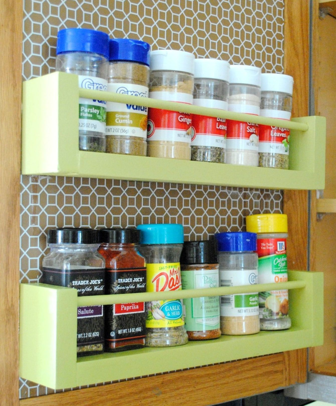 12 totally different ways to organize all your spices wood spice rack diy spice rack cabinet door storage pinterest