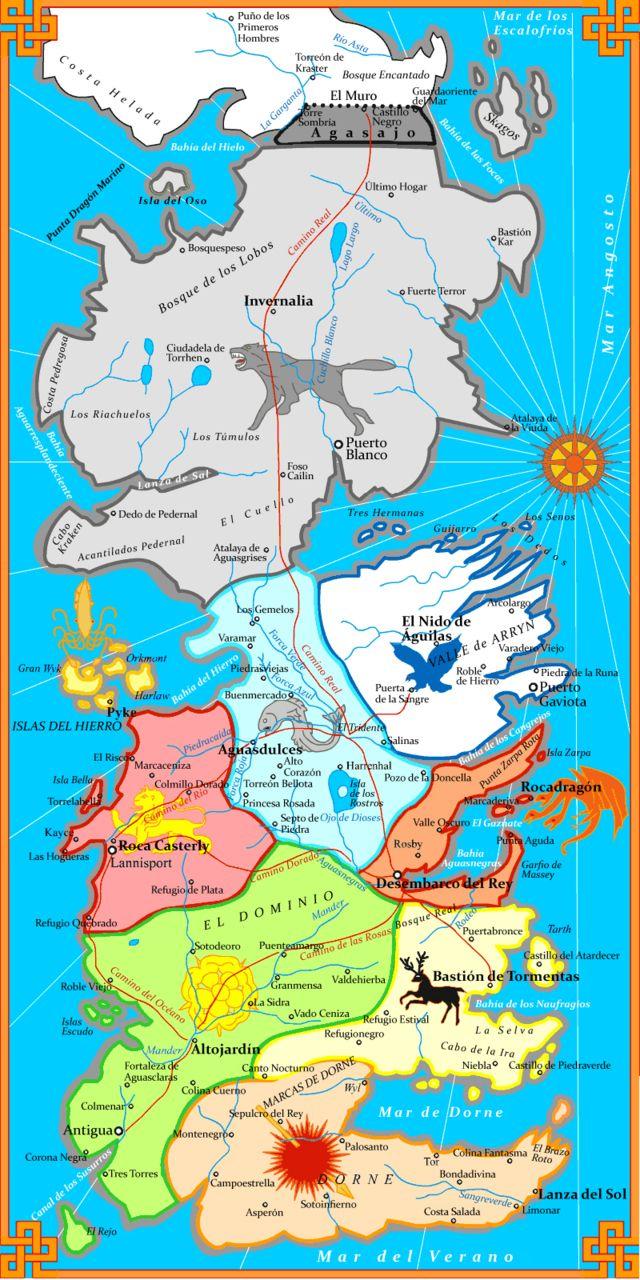 Mapa De Poniente En Espanol Mapa Juego De Tronos Juego De