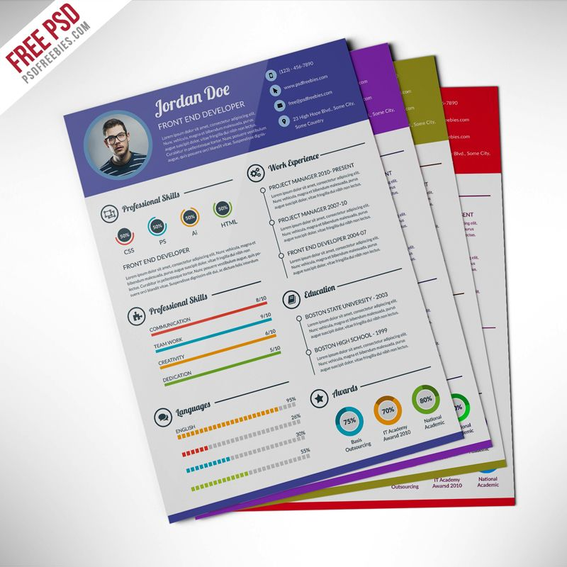 Download Professional Resume CV Template Free PSD This Is The Super Clean