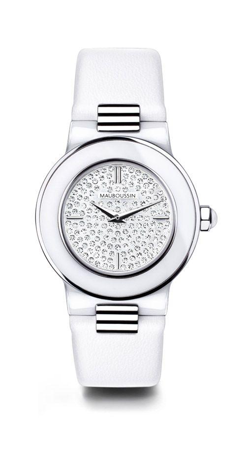 By Amour MauboussinWhite Le CeramicFull Diamonds Timepiece Jour DI9HWE2