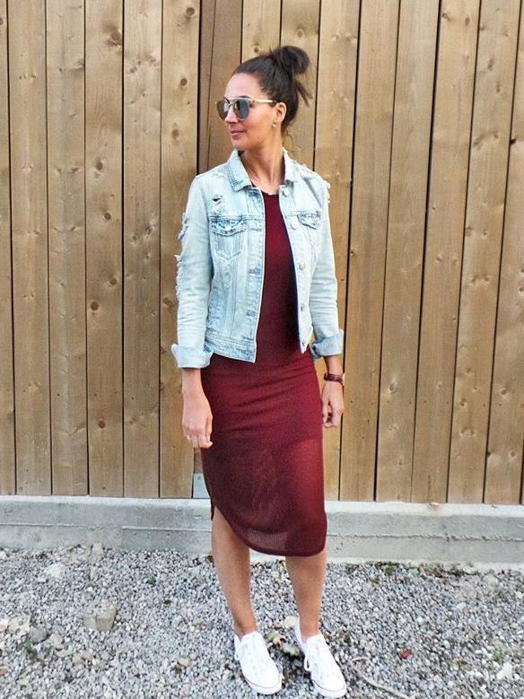 red-midi-dress-with-denim-jacket | Casual Day Wear | Pinterest ...