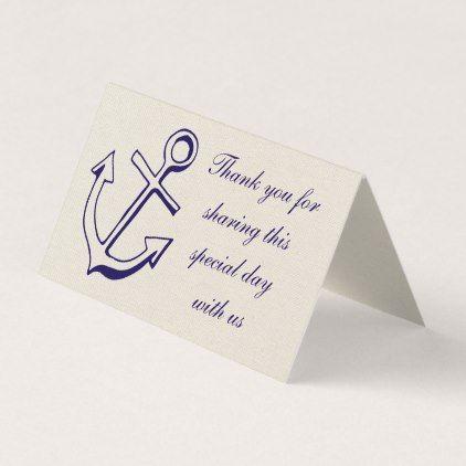 Nautical Anchor Wedding Thank You Navy Blue Tan Place Card Zazzle Com Nautical Anchor Wedding Anchor Wedding Wedding Thank You
