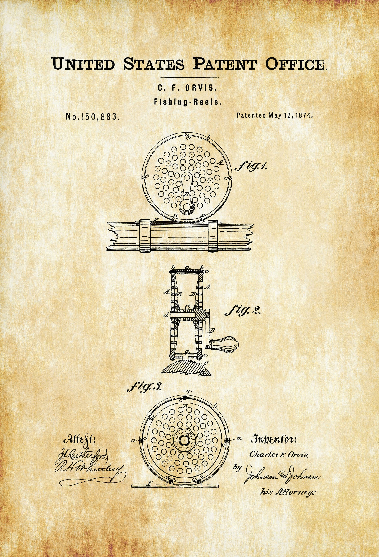 Fishing Reels Patent 1874 – Patent Print, Wall Decor, Fishing Rod ...