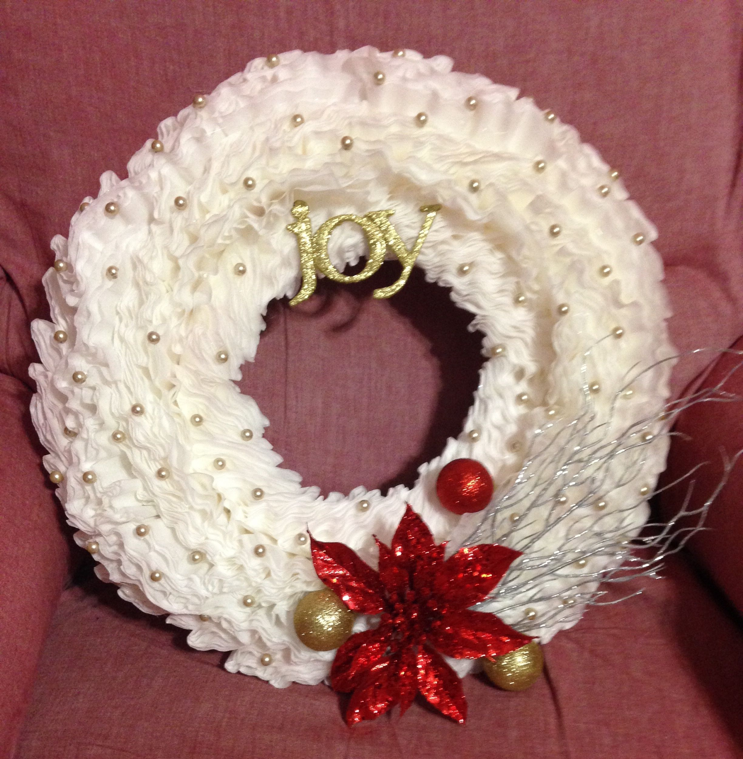 Coffee filter wreath. This was so simple and so much fun to make. I learned from other pinterest ...