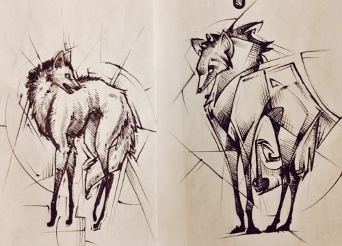 Lineart Wolf Tattoo : A couple of maned wolf tattoo design ideas for client. ballpoint