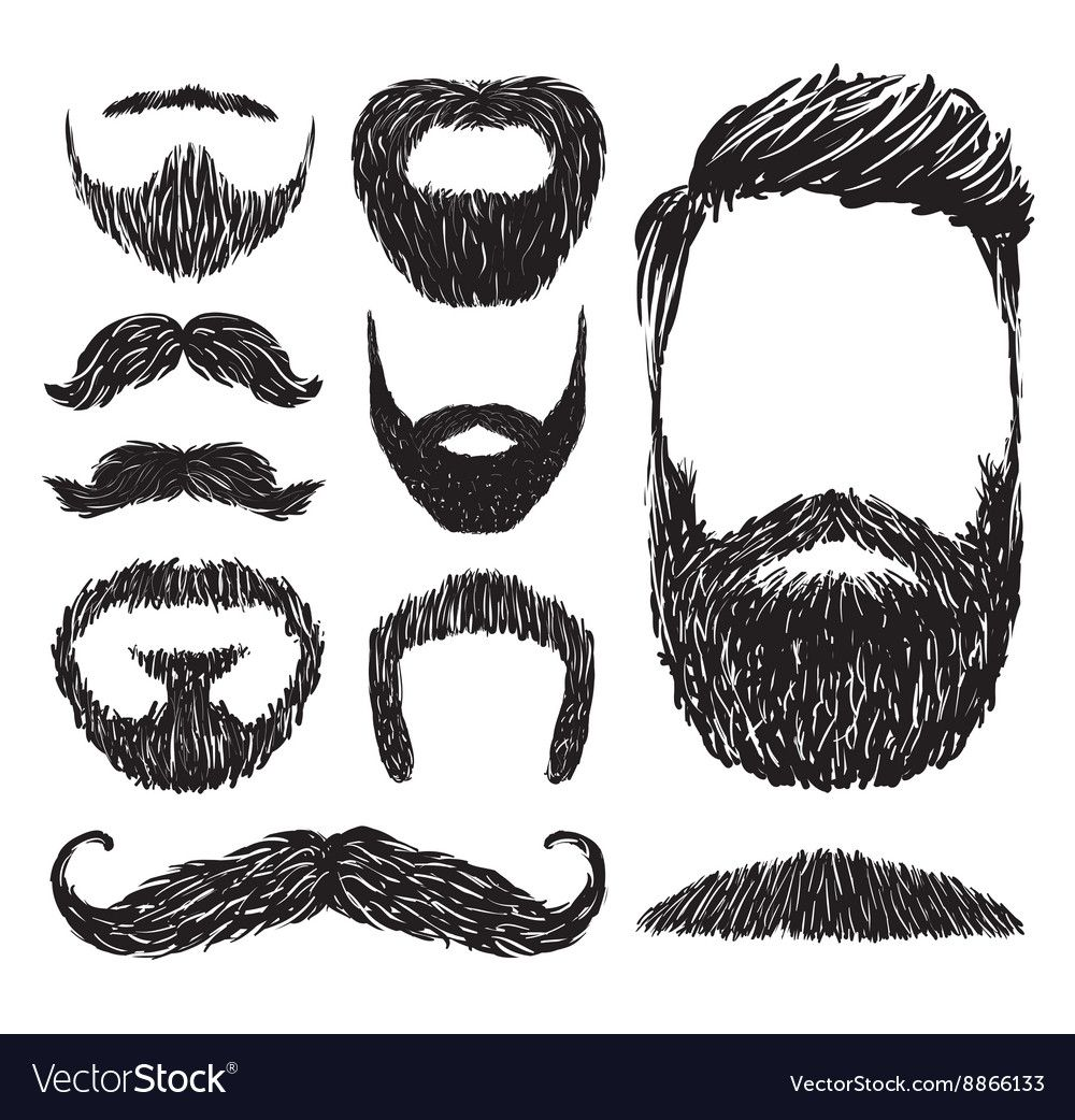 Set Of Mustache And Beard Silhouettes Royalty Free Vector Affiliate Beard Mustache Set Silhouette Beard Silhouette Mustache Logo Vector Illustration