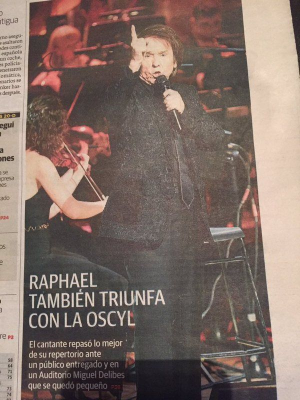 La prensa vallisolitana destaca el gran éxito de @RAPHAELartista en su concierto de anoche en el @AMDValladolid