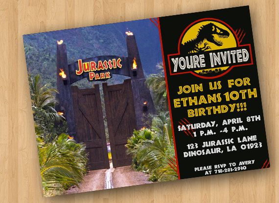 Jurassic Park Party Invitation by CraftCrasherDesigns on Etsy 700