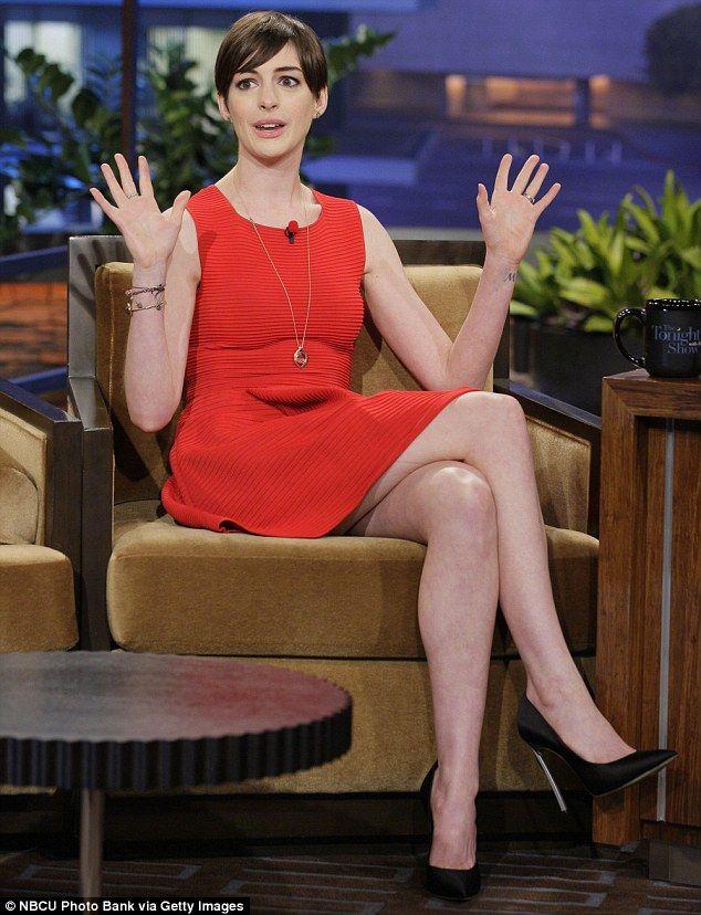 Anne Hathaway Leggy In Brown Dress