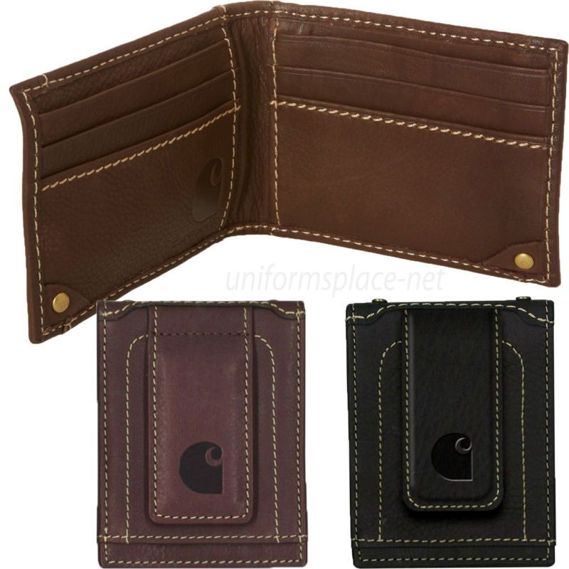 c9168025e955d4 Carhartt Wallet Mens Magnetic Front Pocket Money Clip Wallet Leather Brown  Black