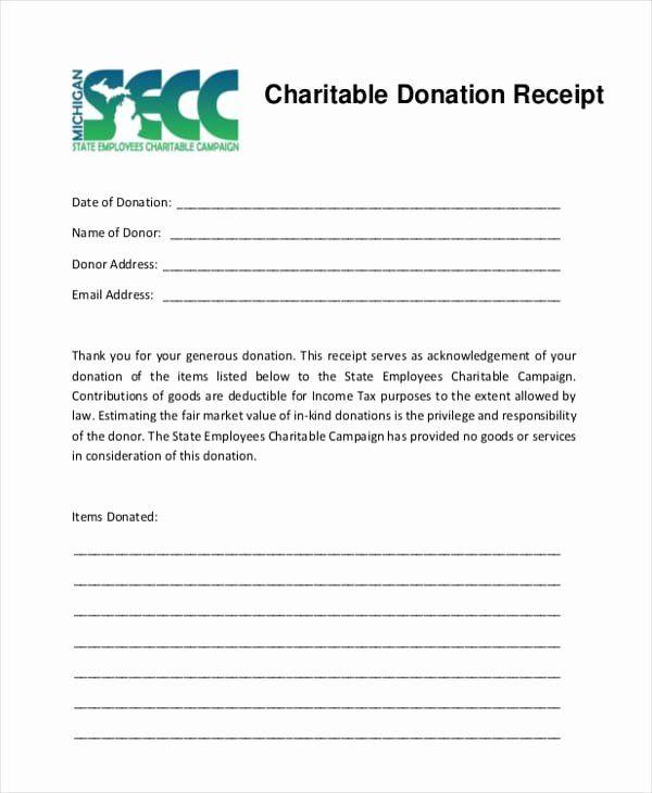 Charitable Donation Receipt Template Inspirational 5 Charitable Donation Receipt Templates Formats Receipt Template Donation Form Charitable Donations