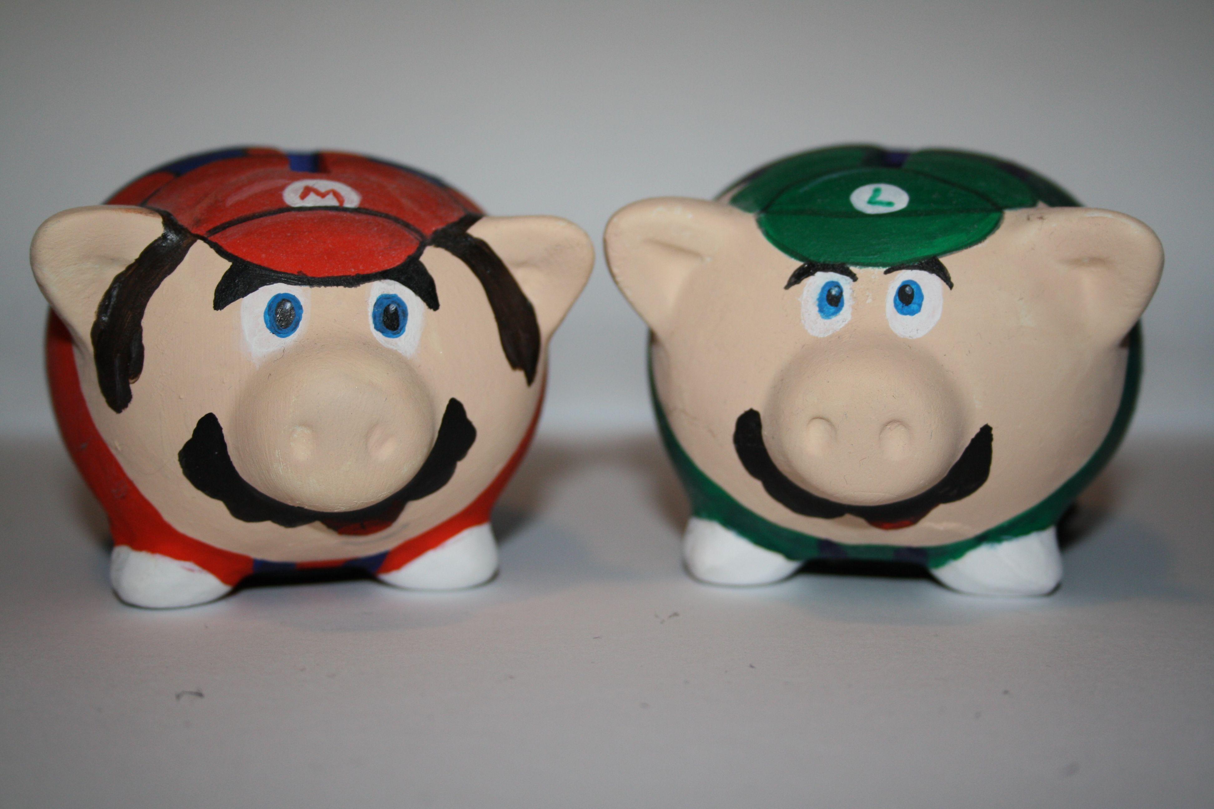 Cheap DIY painted piggy banks- Mario, Luigi, Link, Van Gogh