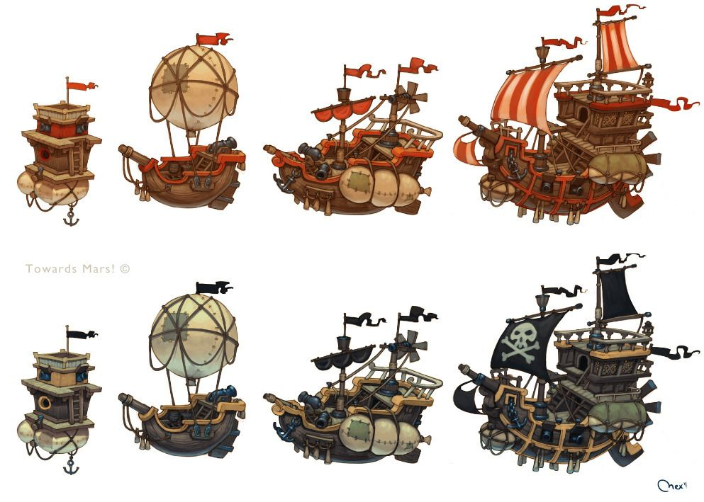 Ships Picture 2d Cartoon Airships Fantasy Game Art