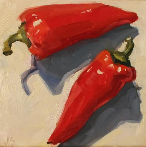 """Daily Paintworks - """"Bold Peppers"""" - Original Fine Art for Sale - © Jamie Stevens"""