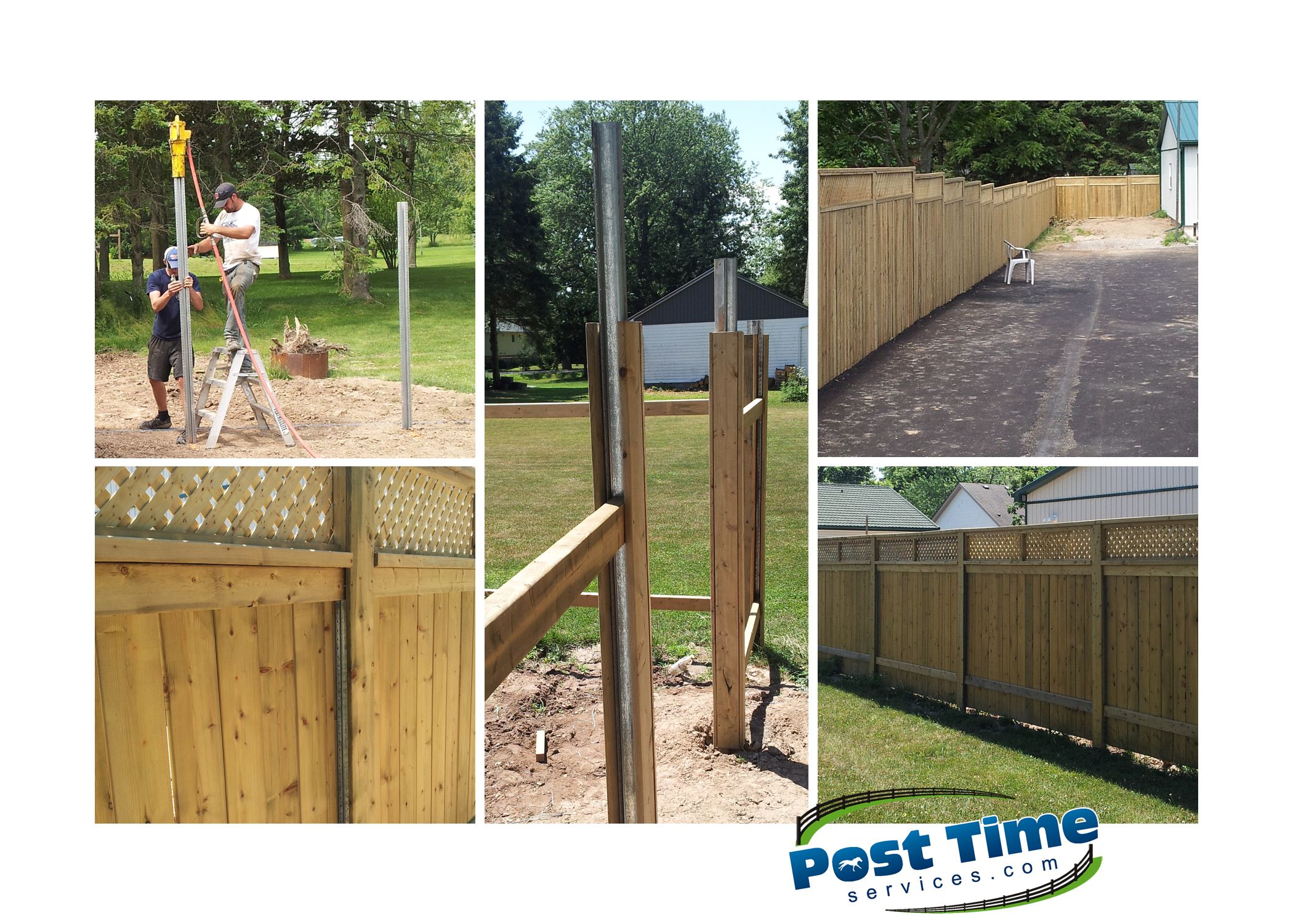 Wood Privacy Fence Installed On Steel Posts Pounded Into Soil