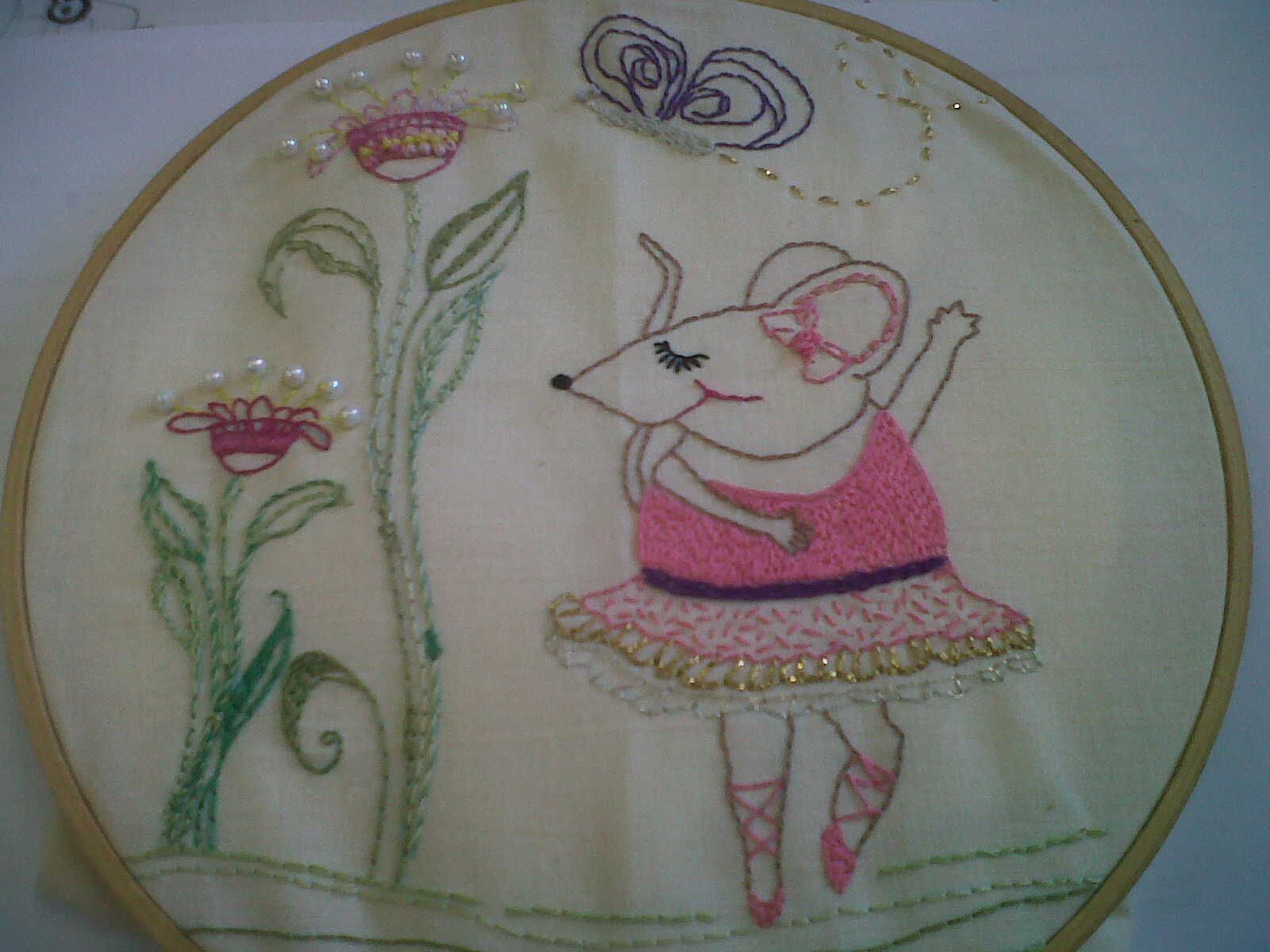 using two embroidery patterns I found on pinterest! :)