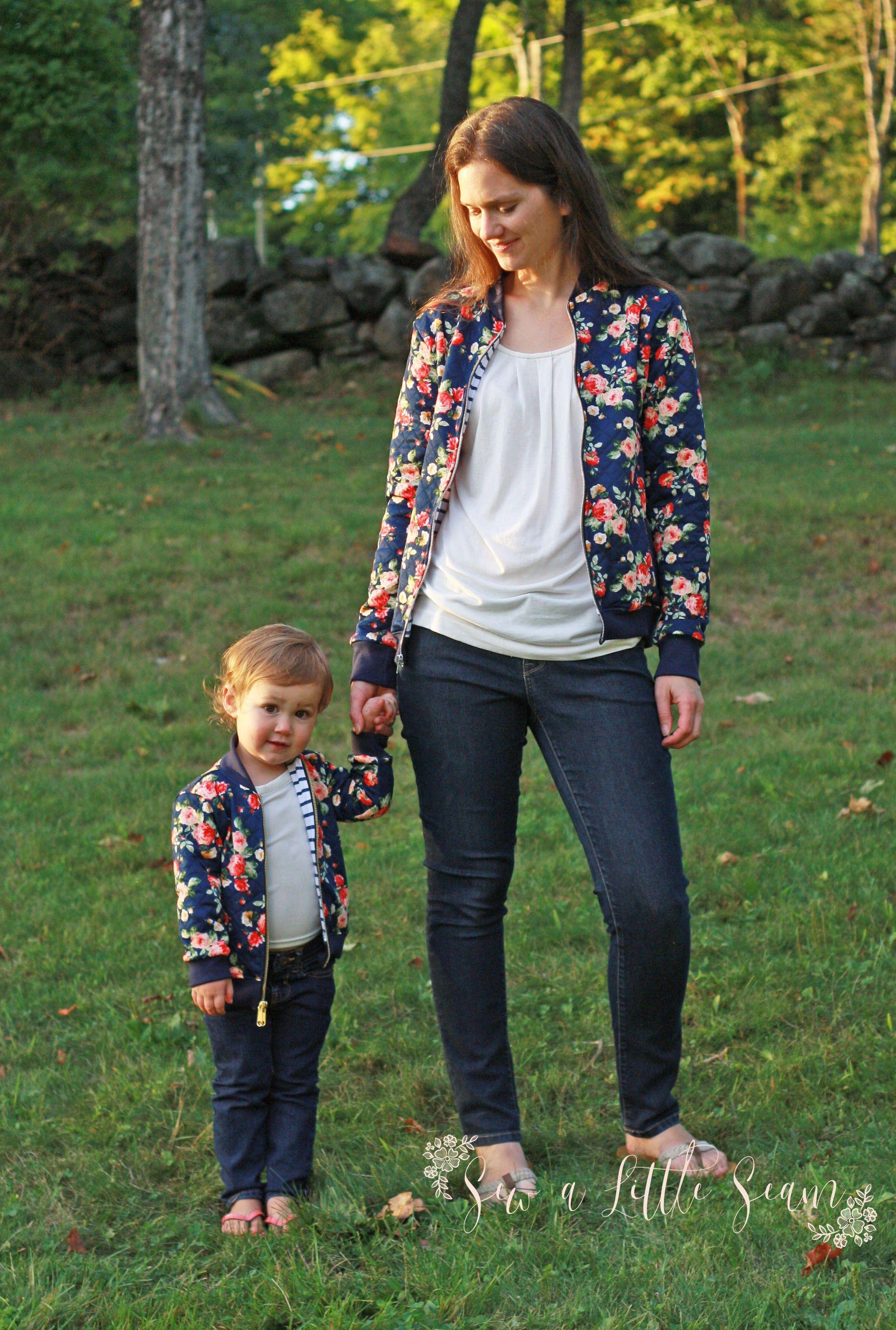 Ollie Bomber Jacket Women S And Children S Bundle Sew A Little Seam Naaipatronen Naaipatroon Dames Kinderkleding [ 3263 x 2200 Pixel ]