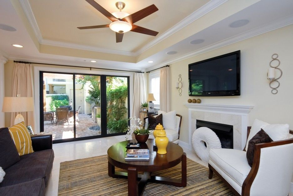 Cozy Small Living Room With Flat Screen Tv And Ceiling Fans Decorating Ideas Ceiling Design Living Room Small Living Room Design False Ceiling Living Room