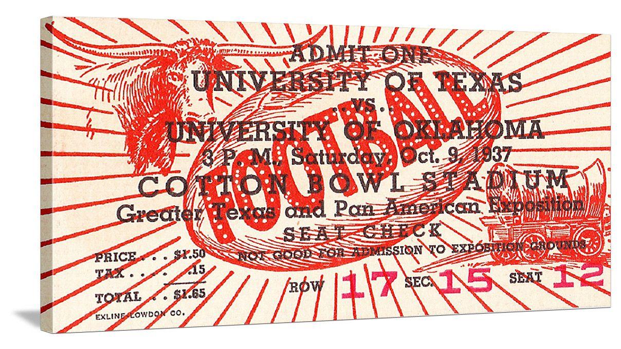 Tickets! 1937 Oklahoma vs. Texas football ticket art on