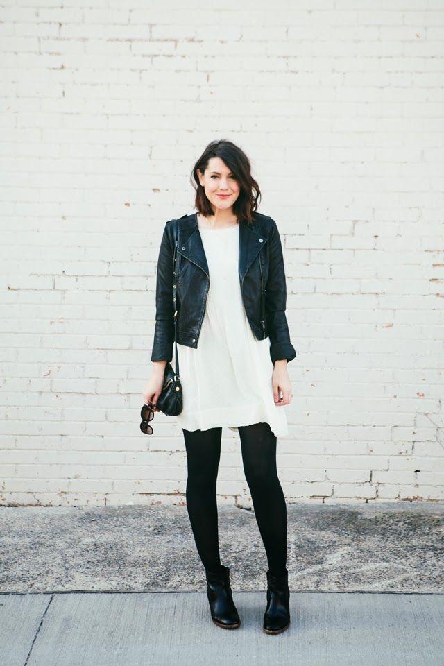 Number 5 - Kendi Everyday-black leather jacket, white dress, black ...
