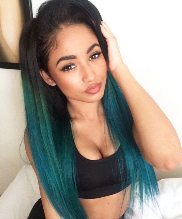 Green Hair Straight Hair Colorful Hair Black Women Black Girl