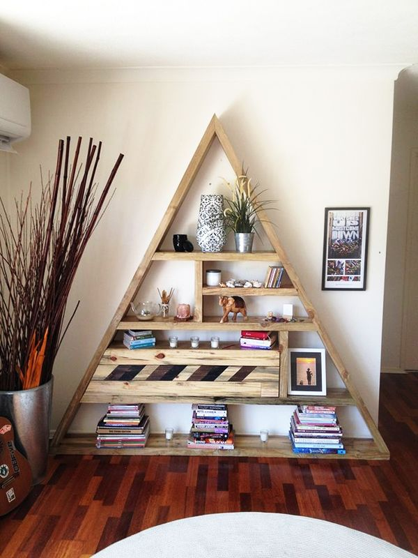 Find this Pin and more on pallet making. Custom Bermuda triangle bookcase  ... - 14 Fabulous Ways To Display Your Books Pallet Making Pinterest