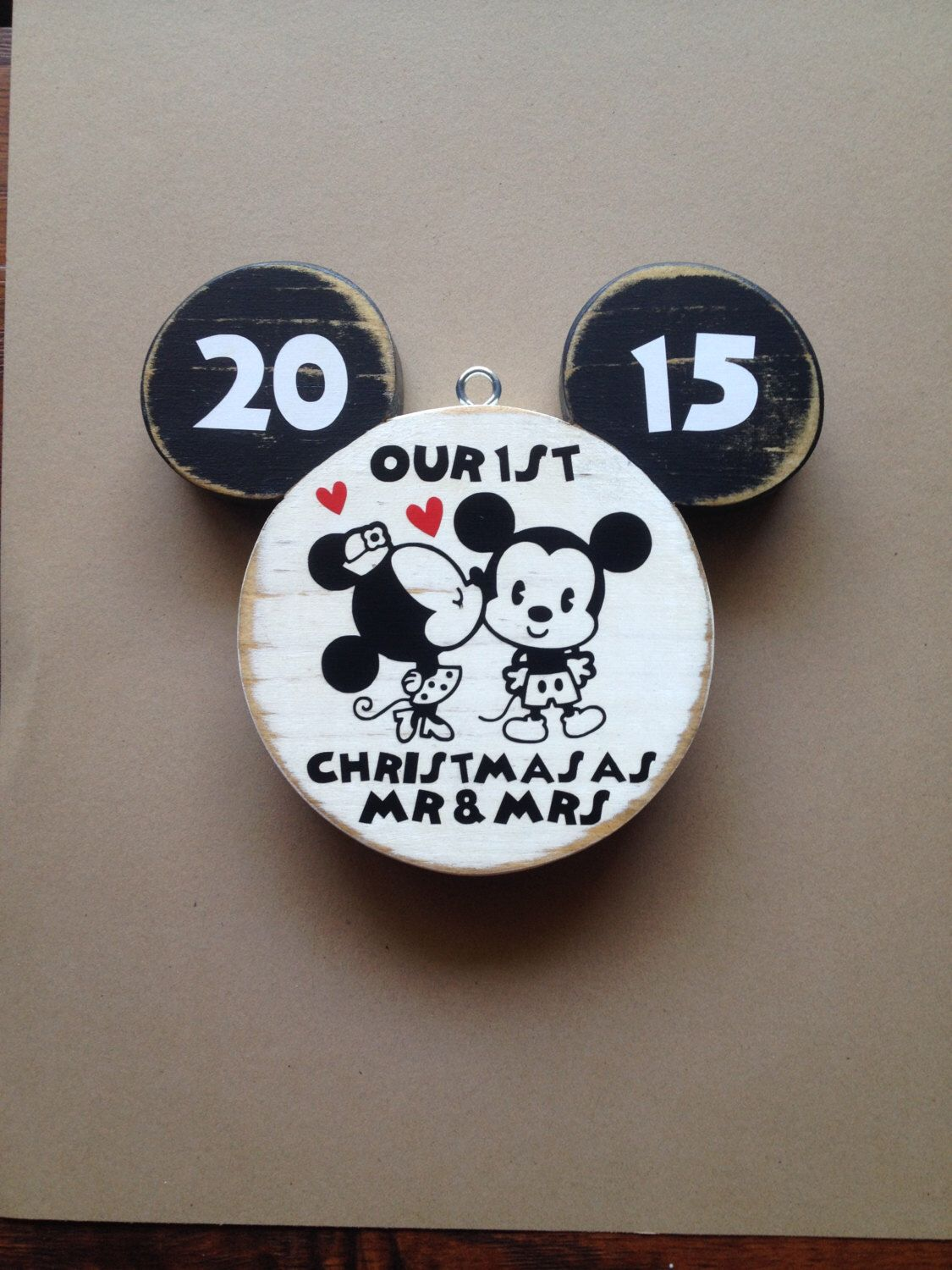 Disney Ornament  First Christmas Ornament Married  Just Married  Mr And  Mrs  Mickey Mouse  Disney Wood  Disney Wedding