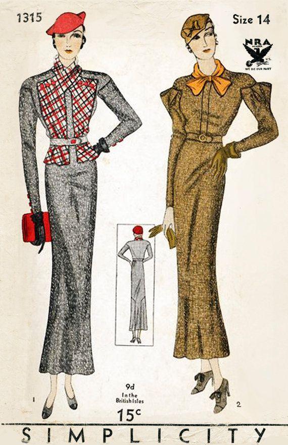 Vintage Sewing Pattern 1930s 30s Suit Dress Jacket Blouse