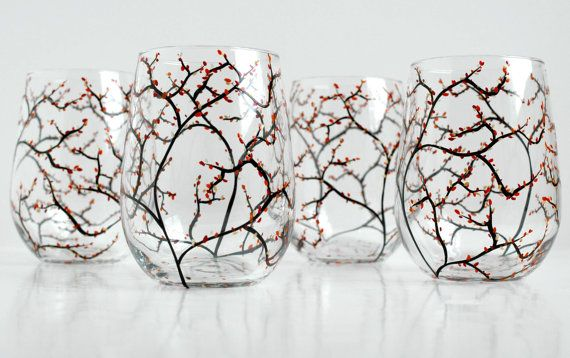 Autumn Wedding Wine Glasses - Set of 10 Stemless Hand-Painted Glasses for Your Fall Wedding Bridal Party Glassware