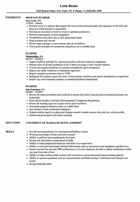 Direct Care Worker Resume New Pumper Resume Samples