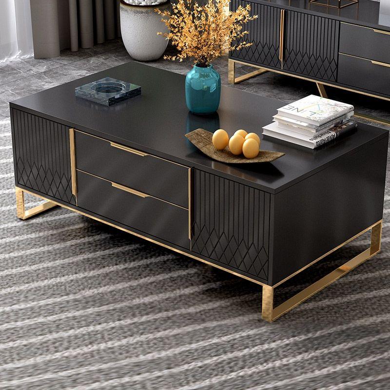 Aro White Black Coffee Table With Storage Rectangular Coffee