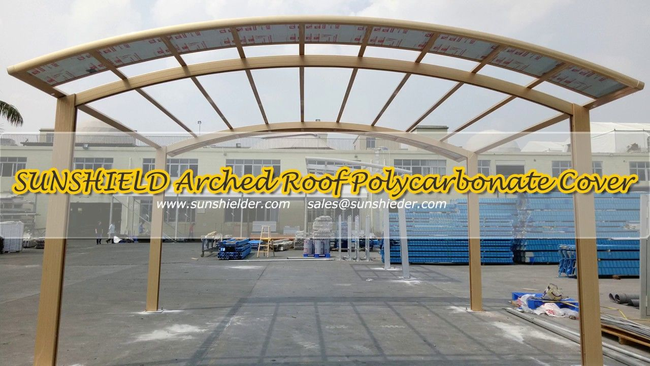 Sunshield Installation Testing Polycarbonate Shelter Arched Roof Cover Roof Covering Installation Roof