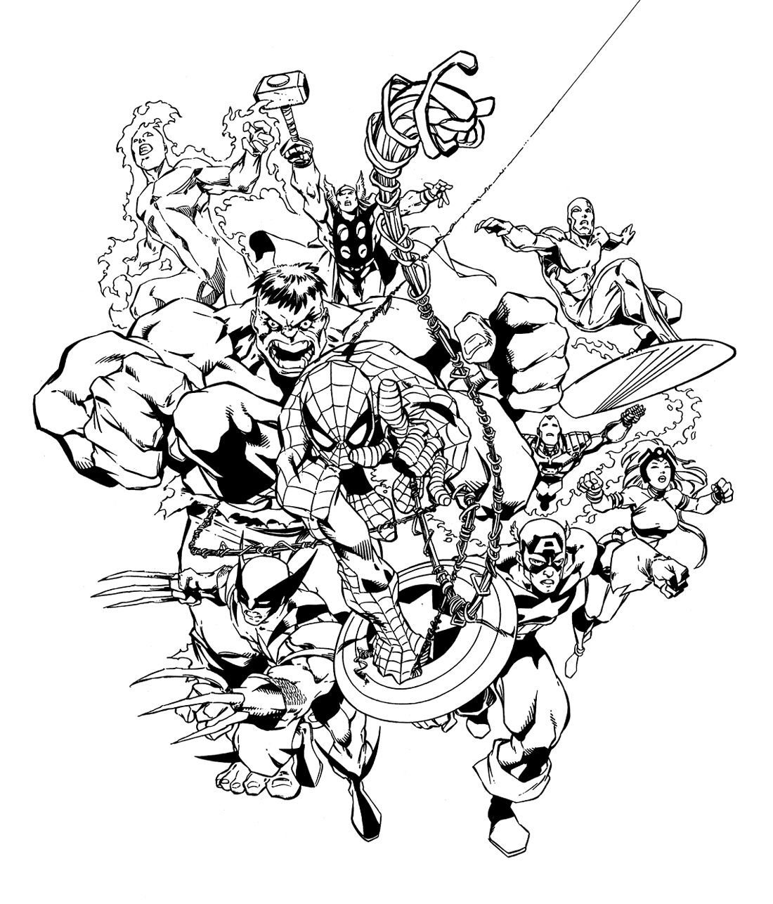 Free coloring pages superheroes printable - Marvel Comic Coloring Pages
