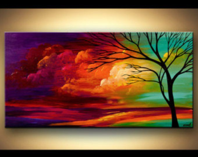 contemporary tree acrylic painting colorful landscape painting blue purple reds by osnat