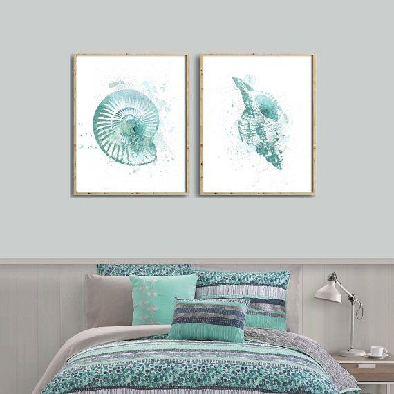 Set Of 2 Nautical Prints Of Nautical Turquoise Shells Diy Etsy Watercolor Art Watercolor Art Prints Ocean Home Decor