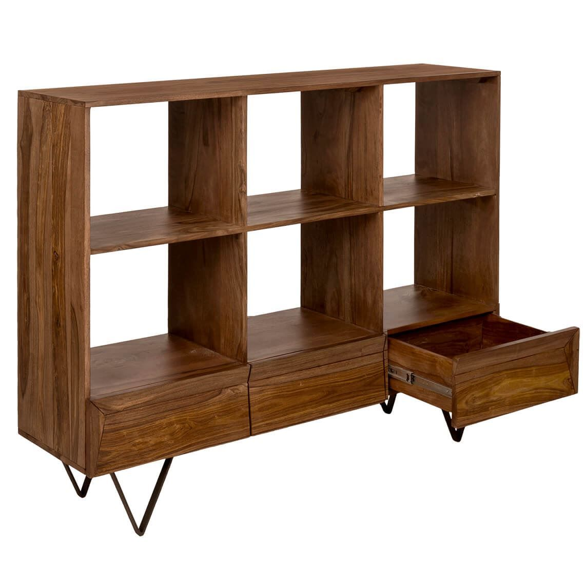 Wyatt 6 Cube 3 Drawer Shelving Unit Natural Shelving Unit Living Room Furniture Modern Furniture Living Room