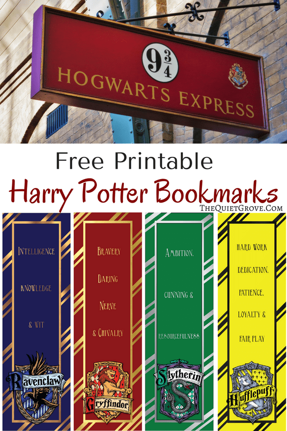 FREE Harry Potter Printable Bookmarks
