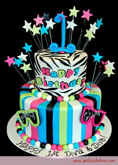 Awesome 1St Birthday Diva Divo Zebra Cake Birthday Cakes With Images Funny Birthday Cards Online Elaedamsfinfo