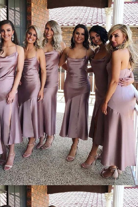 Sheath Spaghetti Straps Tea Length Lilac Bridesmaid Dress With Split Prom Dresses RS919 Dresses