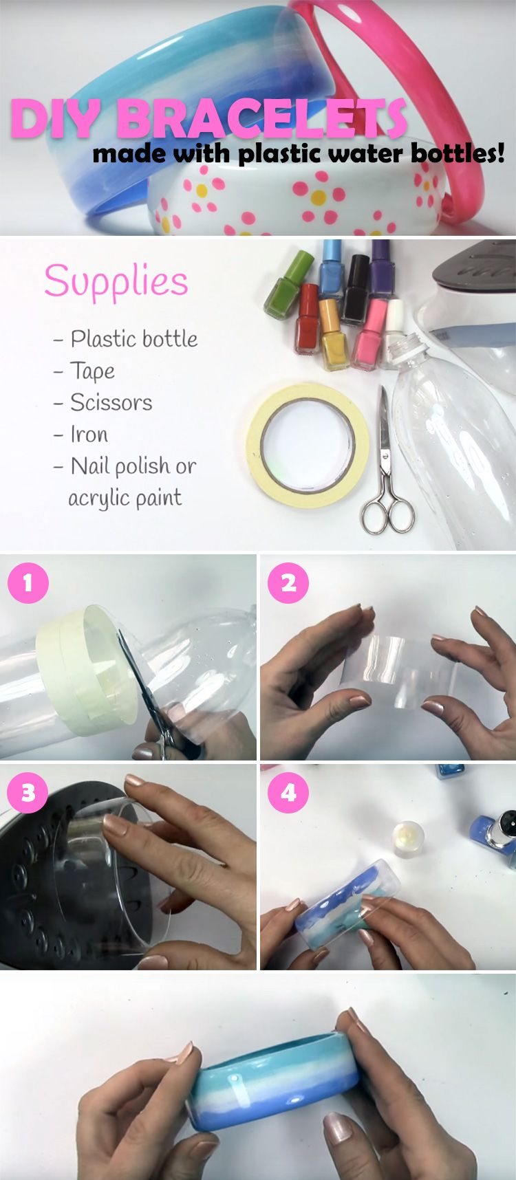 DIY Bracelets Made by Upcycling Plastic Water