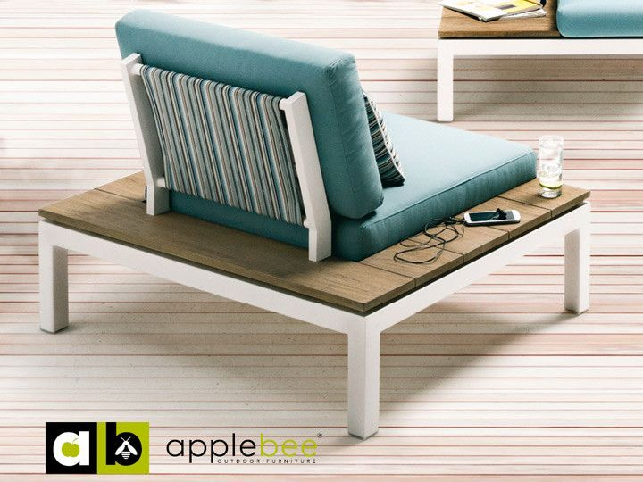 PEBBLE BEACH Lounge Gartensessel Applebee Alu Weiß \ Stoff Ocean - gartenmobel design weis