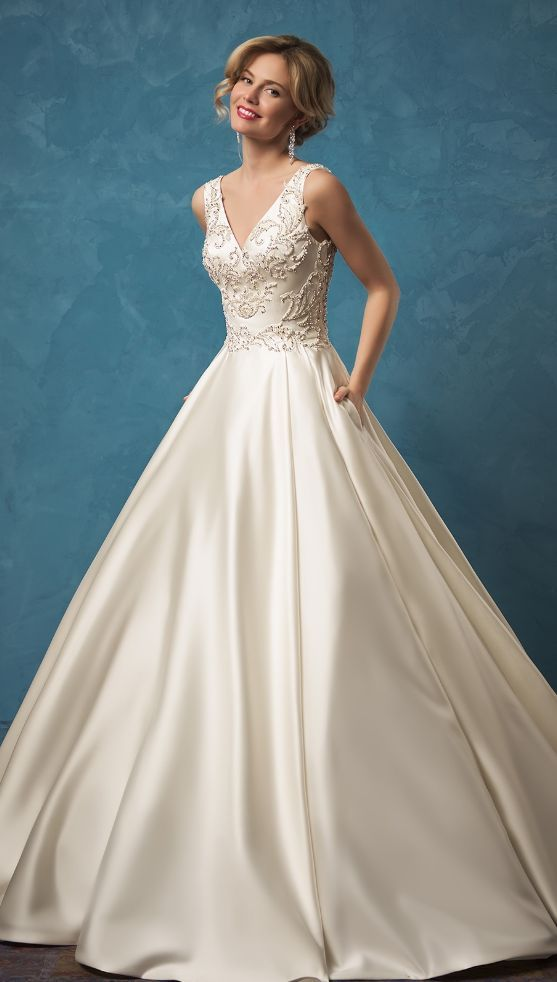 Embroidered Bead and Crystal V-Neck Ballgown Wedding Dress ...