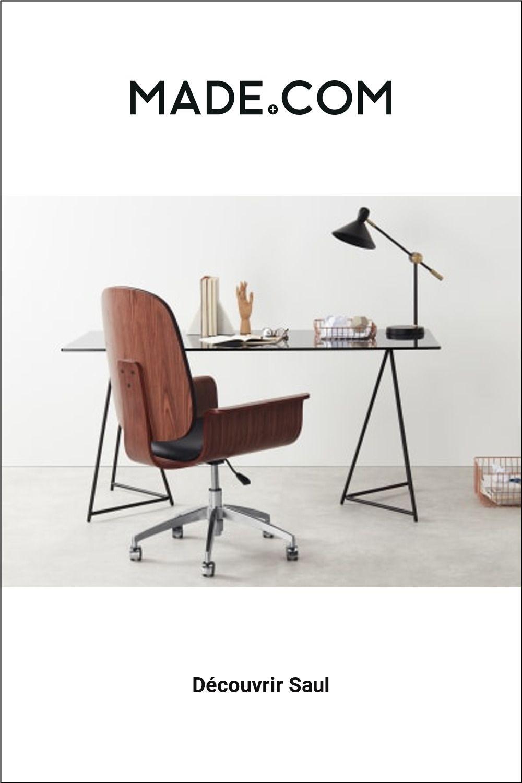 Made Com Chaises De Bureau Noir Bois Fonce En 2020 Chaise Bureau Chaise De Bureau Design Mobilier De Salon