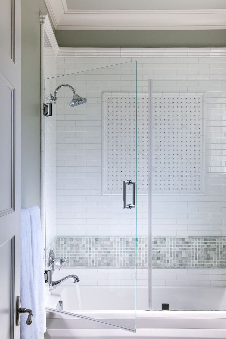 Child\'s Bathroom Shower with Subway Tile & Decorative Tile Inset ...
