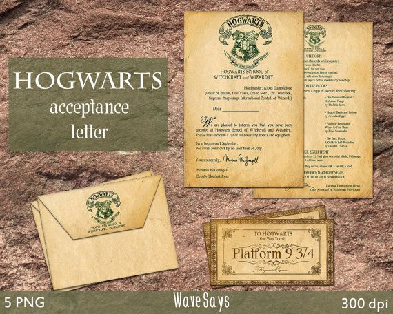 hogwarts acceptance letter harry potter world 5 pieces instant download digital printable. Black Bedroom Furniture Sets. Home Design Ideas