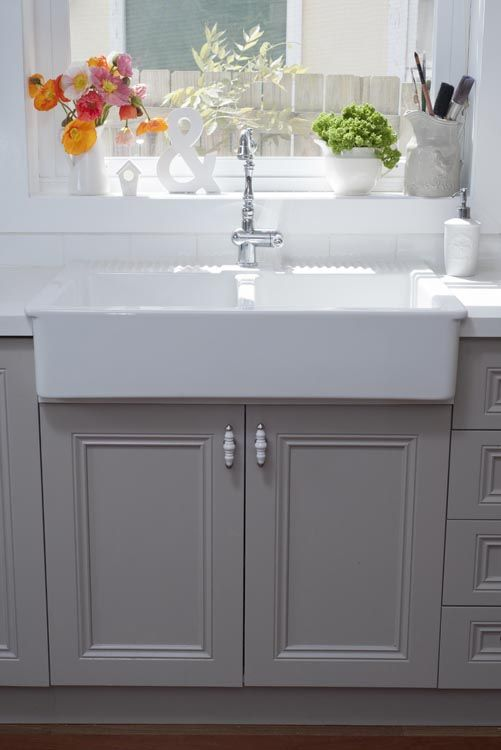 French gray kitchen cabinets love how clean yet not boring this looks kitchen pinterest - Kitchen sink in french ...