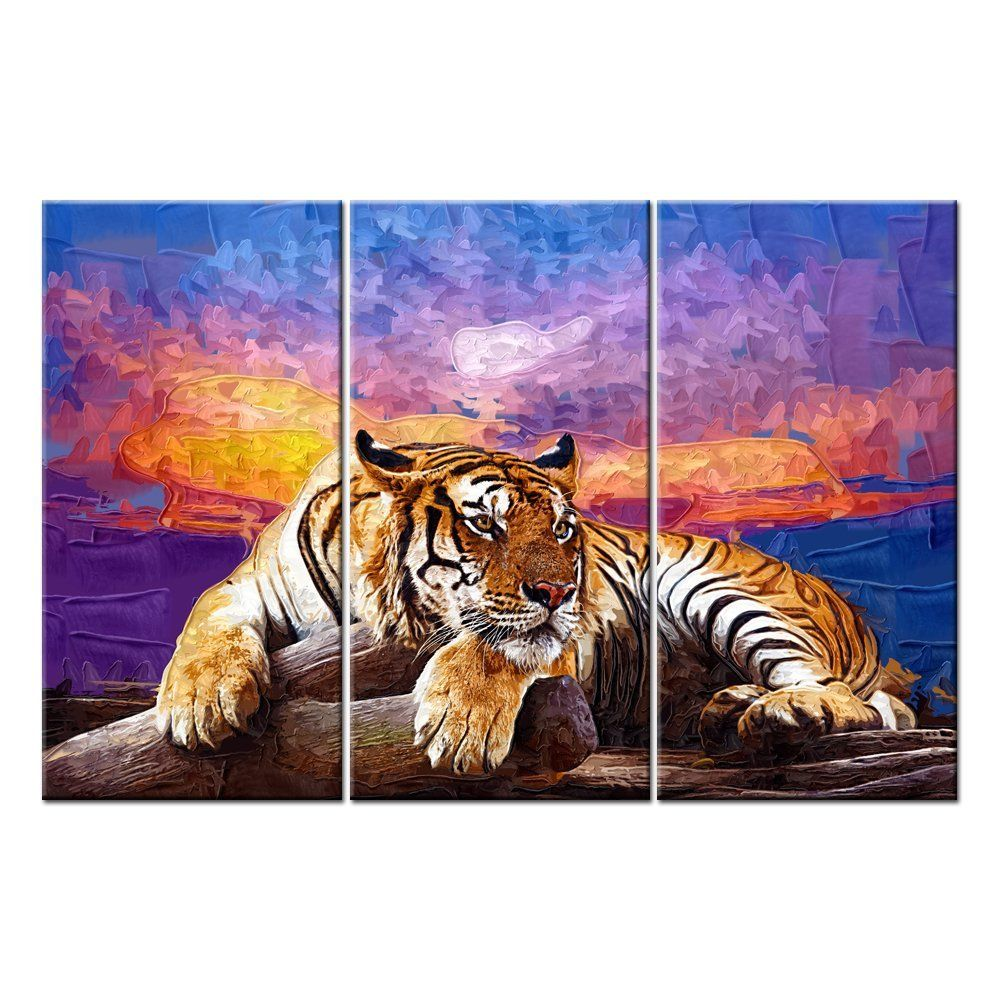 Canvas print wall art paintings for home decor tiger on