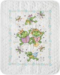 Frog Family Quilt Stamped Cross Stitch Kit