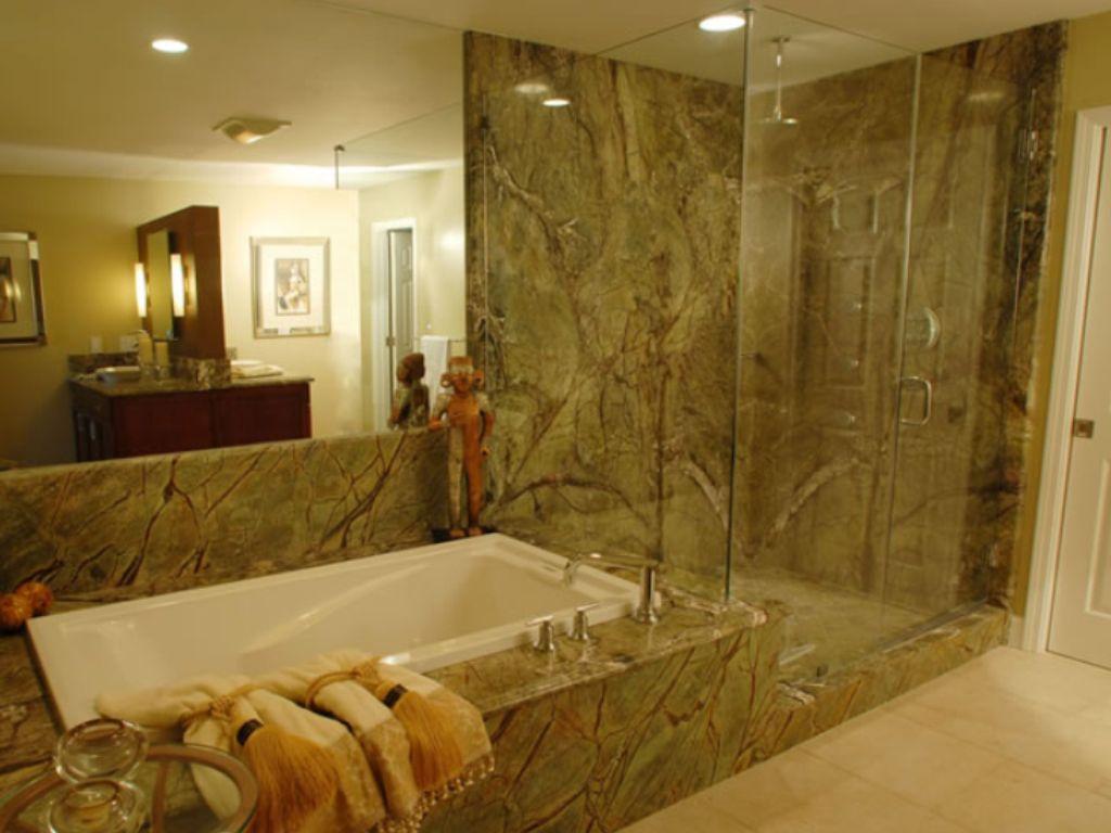 Rain forest granite shower lake house ideas pinterest for Forest bathroom ideas